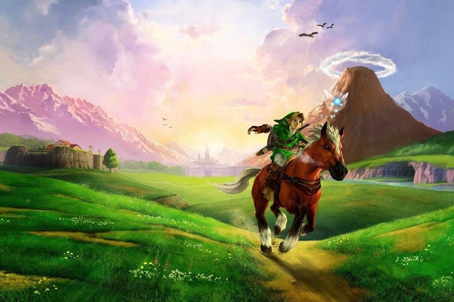 Cornice FAI DA TE The Legend of Zelda-25th Anniversario Ocarina of Time Gioco di Arte Tessuto di Seta Stampa Poster Da Parete Foto REE0045