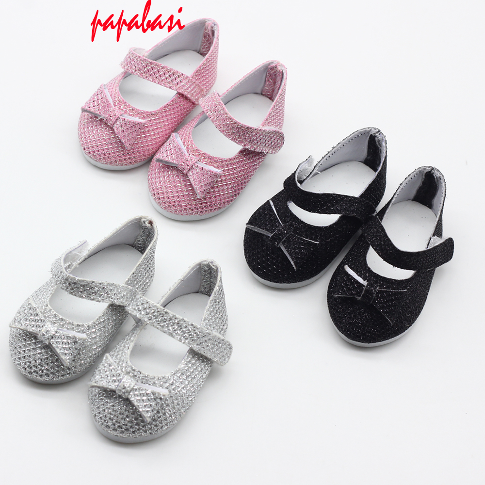 "1 pair for 18"" American Girl Gliter Pink Black Silver Color 7cm Cute Doll Shoes with Bow for 43CM Zapf Reborn Baby Doll Shoes"