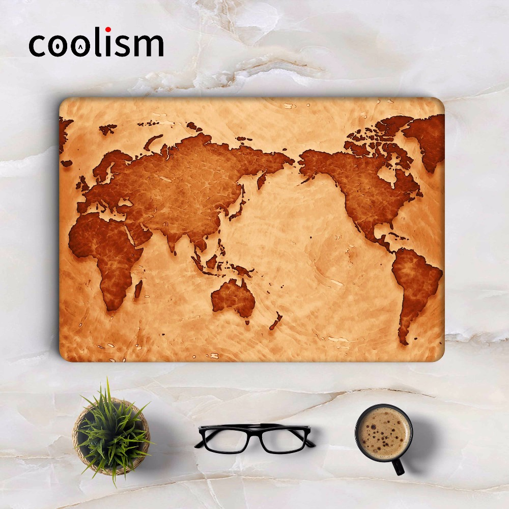 World Map Vintage Full Cover Skin for Apple Macbook Air Pro Retina 11 12 13 15.6 inch Mac