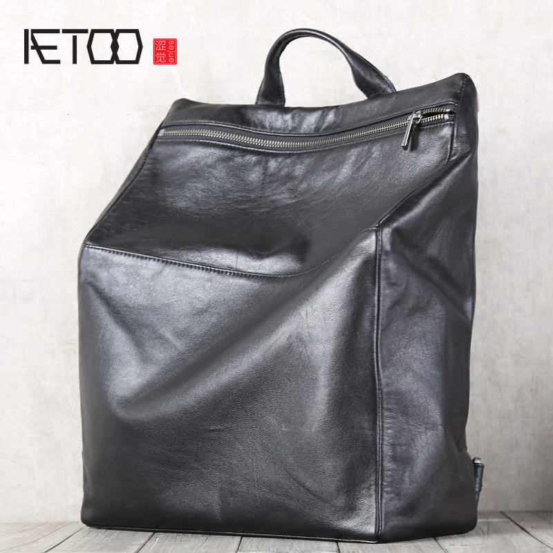 AETOO Men's medium double shoulder Baotou cowhide Multifunctional backpack-in Backpacks from Luggage & Bags    1