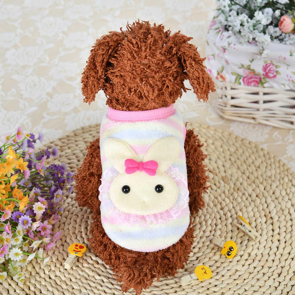 Новый мягкий жилет для щенков из кораллового флиса, топ с кроликом улиткой, Одежда для животных из мультфильма