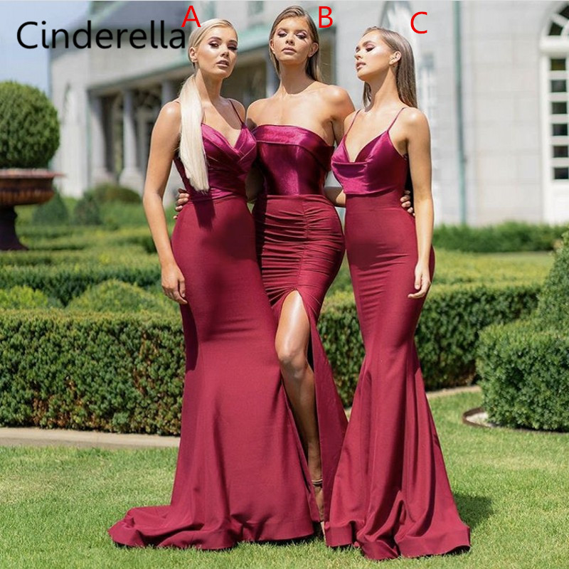 Us 87 2 20 Off Cinderella Burgundy Sleeveless Mermaid Bridesmaid Gowns Silver Coral Pink Red Mint Long Sexy Bridesmaid Dresses Fast Shipping In