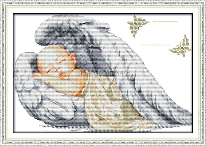 Mały anioł akt urodzenia, śpiące dziecko, wzór wydruk płótna DMC 14CT 11CT DIY Cross ścieg haft zestawy do szycia zestawy