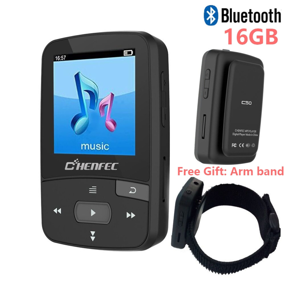Mini lettore musicale Bluetooth originale CHENFEC C50 Mini Sport Clip Supporto lettore TF card, radio FM, registrazione, e-book, pedometro