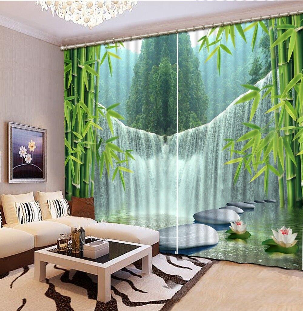 Rideau de blocage de la lumière bambou cascade rideaux chambre salon fenêtre rideaux