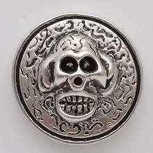 Skull 18 mm enamel metal snap button for snaps bracelets fit buttons bracelets NC2107(China)