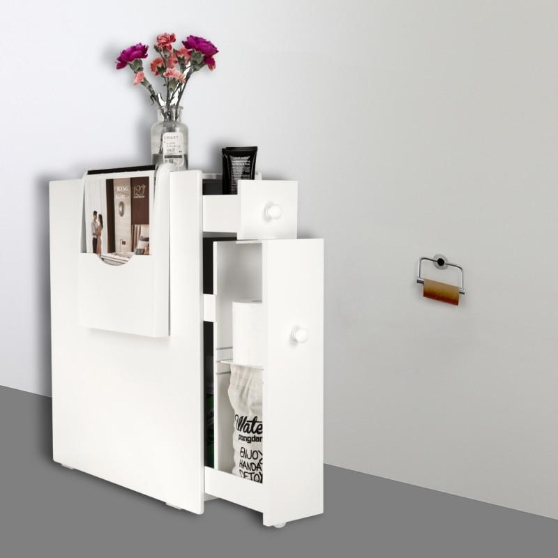 Meuble de rangement blanc avec tiroir et porte revuesMeuble de rangement blanc avec tiroir et porte revues
