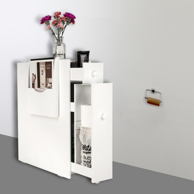 White Bathroom Floor Cabinet Storage with Drawer and Magazine HolderWhite Bathroom Floor Cabinet Storage with Drawer and Magazine Holder