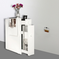 White Bathroom Floor Cabinet Storage with Drawer and Magazine Holder