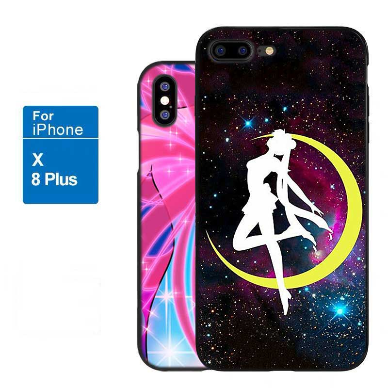 For iPhone XS X XR Max 8 7 6 6S Plus 5 5S SE Black Soft Silicone Phone Case Anime Sailor Moon Style in Fitted Cases from Cellphones Telecommunications