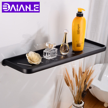 50cm Bathroom Shelves Shower Storage Rack Wall Mounted Black Bathroom Shelf Corner Space Aluminum Decorative Phone Paper Holder стоимость