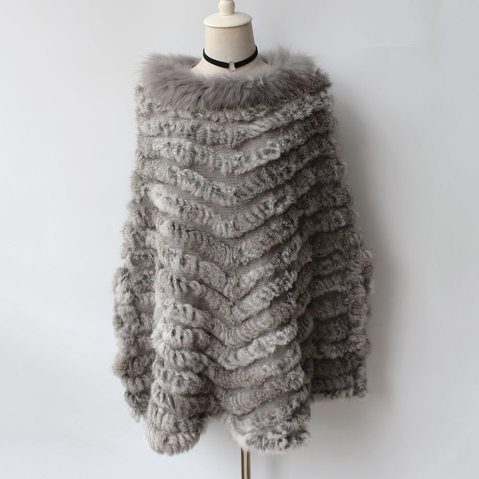 autumn genuine rabbit fur poncho big size with collar 2018 real knitted fur pullover shawls and capes with raccoon fur collar