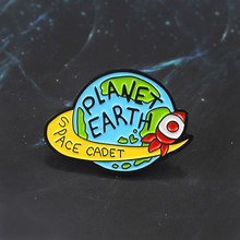 Planet Earth Brooch Starry Rocket Enamel Pin Space Military Coat Uniform Backpack Badge Space Explorer Pilot Technician Gifts(China)