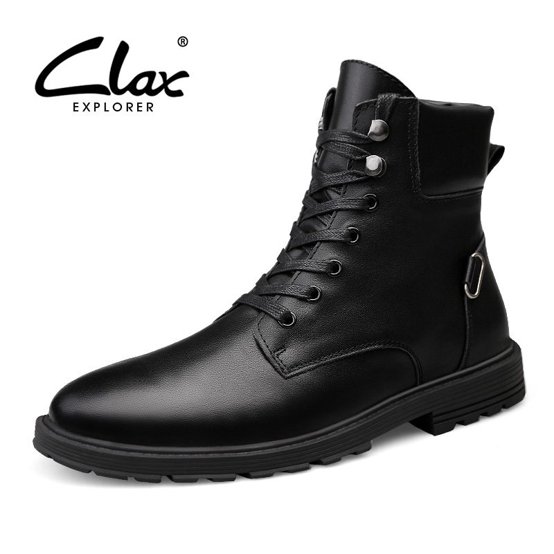 CLAX Men Motorcycle Boots Genuine Leather Autumn High Boot Male Casual Leather Shoe Winter Boot Fur Warm Snow Shoe clax mens boot spring autumn ankle boot genuine leather male casual leather shoe winter boots men snow shoes fur warm plus size