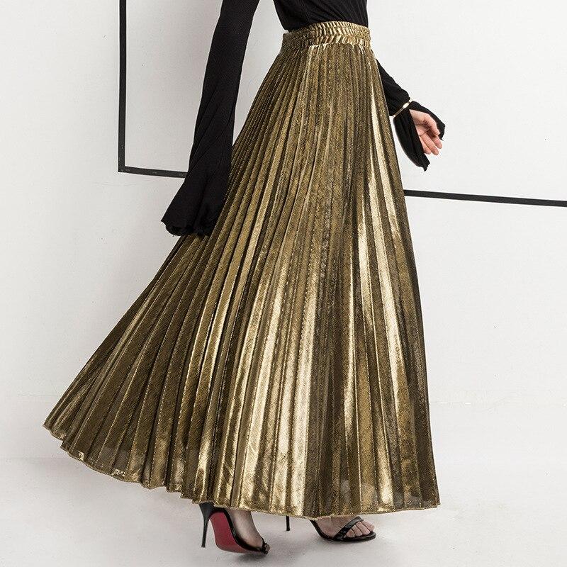 2020 Spring Women Long Skirts Fashion Brand A-Line Women Pleated Skirts High Waist Women Midi Skirt Faldas Mujer Saias