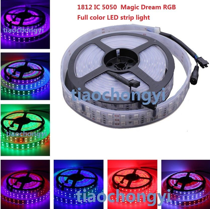 1812 IC 5050 12V 5M 600LED Magic Dream RGB Full color Double row LED strip 5m dc12v 5050smd 150leds ldp6803 ic magic dream color ip66 silicone waterproof flex led strip 133 programs rf remote controller