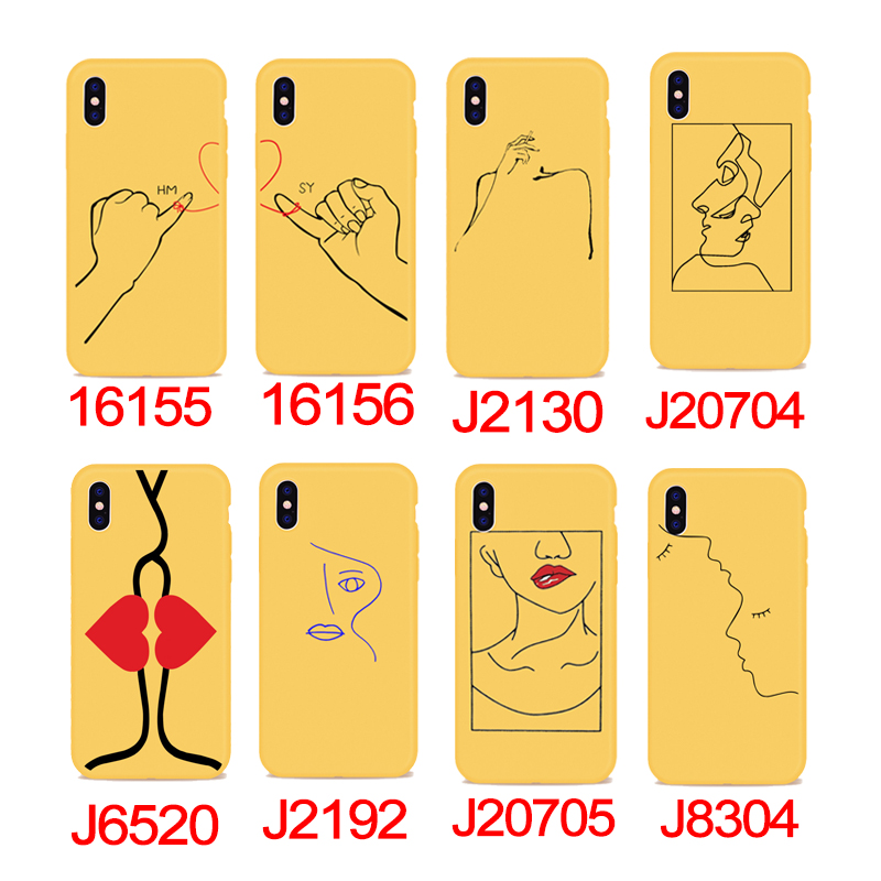 Phone Cases For iPhone X 8 6 7 6S Plus 5SE Abstract Smoking Hot Art Line Kiss Love Heart Yellow TPU Silicone DIFFRBEAUTY Coque