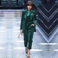 CUSTOM Dark green women business suits 3 piece set women tuxedo female trouser suit ladies office uniform elegant pant suit