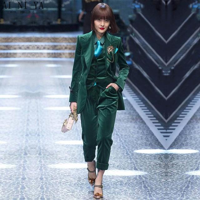 cd91f25602d CUSTOM Dark green women business suits 3 piece set women tuxedo female  trouser suit ladies office uniform elegant pant suit