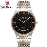 CHENXI Golden New Clock Men's Super Slim Case Quartz Watches Gold watch men full steel watch gold man watch stainless steel 030A