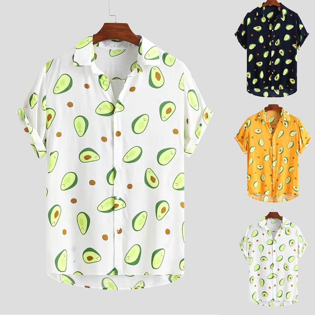 Mens Avocado Printed Turn Down Collar  Cotton Shirts  1