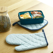 2pcs/set Oxford Oven Glove Heatproof Microwave Mitten Kitchen Cooking Thickened Gloves Microondas Insulated Non-slip