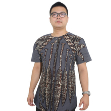 MD grey cotton t shirt for men south africa dashiki short sleeves 2019 african fashion print clothes