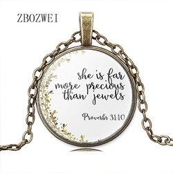 Incil Ayet Kolye Atasözleri 3:15 O Daha Değerli Daha Mücevher Charm Kolye İnanç Hıristiyan Hediyeler moda takı