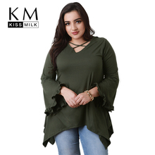 Kissmilk Women Plus Size Flare Sleeve Criss Cross Front T Shirt Ruffled Loose Solid Color Basic Tops Large Size Casual T Shirt