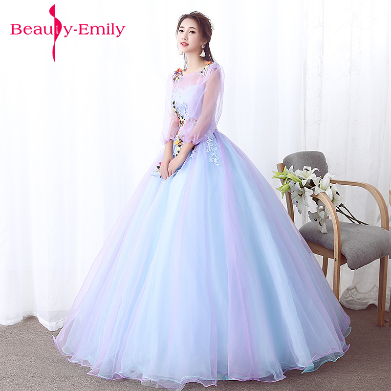 Pastel tulle art stage dresses embroidery floral ball gown formal ...