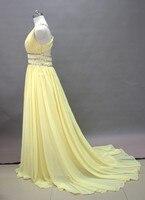 Сексуальные желтые шифоновые пляжные свадебные платья бисером белая слоновая кость для новобрачных платье невесты платья шлейф на заказ D20