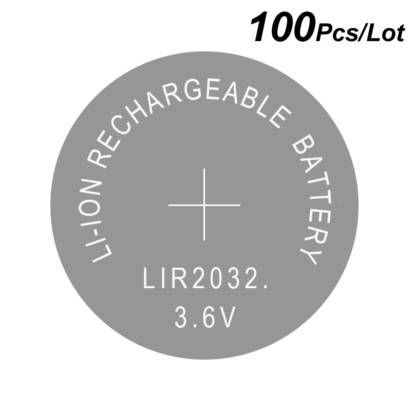 Button Cell Li ion Rechargeable Battery LIR2032 3 6V 100 Pcs 2032 Replace CR2032