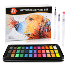 цена на 36Color Solid Watercolor Pigment With 3Pcs Water Brush Pen Water Color Paint Set Gift/Box Set for Artist Drawing Art Supplies