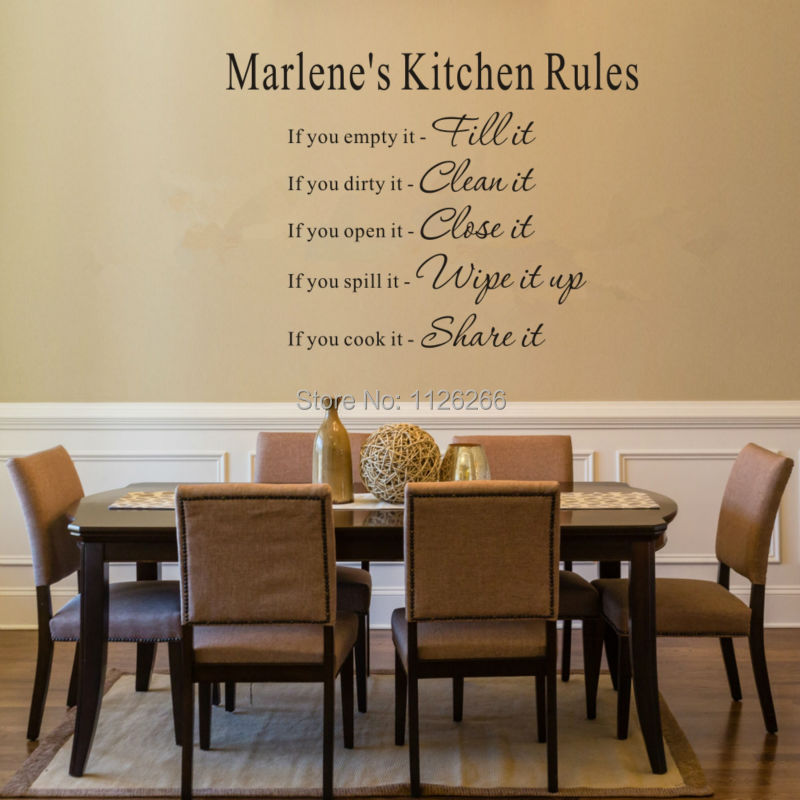 Creative Personalized Your Name Kitchen Rule Art Wall Quotes Removeable Wall Stickers DIY Decorative Wall Decals