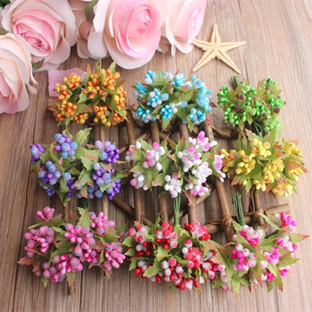 10 PCS Mini Plastik buatan berries benang sari buket karangan bunga  dekorasi pernikahan DIY permen kolase f35920a7fc