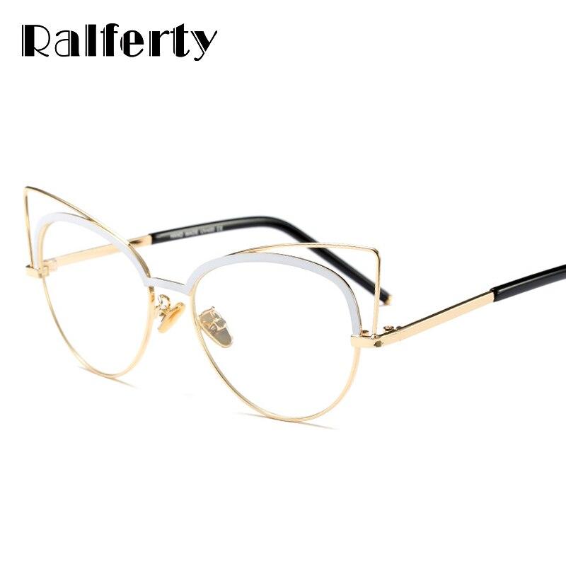 15480e28087 Ralferty Cat Eye Glasses Women Eyewear Frames Eyeglasses Women Frame Retro  Prescription Glasses Vintage Transparent Glass F97333
