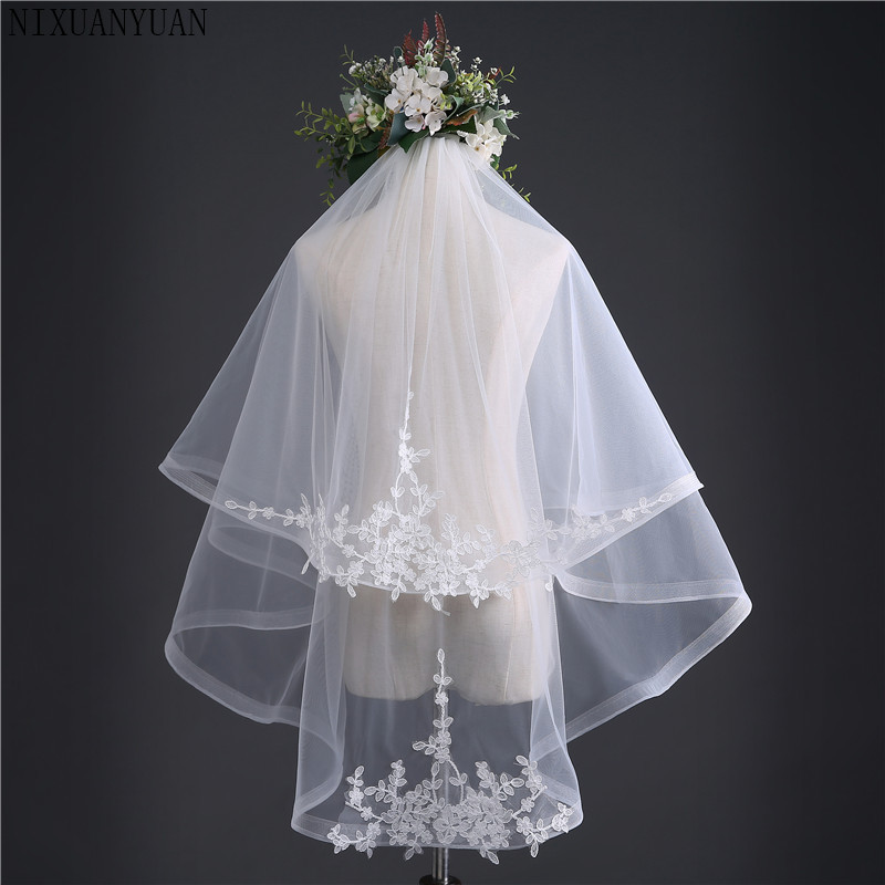 New Arrival Ivory White Two Layers Bridal Veil 2020 Lace Appliques Wedding Veil Cheap Wedding Accessories Voile De Mariee