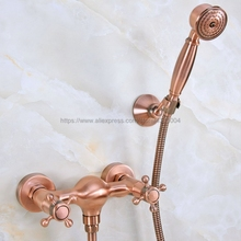 Bathroom Antique Red Copper Shower Faucet Bath Faucet Mixer Tap With Hand Shower Faucet Set Wall Mounted Nna295