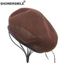 SHOWERSMILE Beret Summer Women Breathable Adjustable Painter Cap Female Brown Hollow British Edged Travel Ladies Hats and Caps