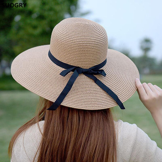 c859c6163 New 2018 Hot Sale Round Top Raffia Wide Brim Straw Hats Summer Sun Hats for  Women With Leisure Beach Hats Lady Flat Gorras