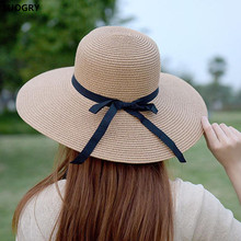 New 2019 Hot Sale Round Top Raffia Wide Brim Straw Hats Summer Sun for Women With Leisure Beach Lady Flat Gorras