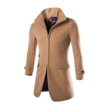 2016 Новых осенью и зимой высокого класса мужская мода Британский Lunfan пальто шерстяное молния мужской бренд Случайные куртка пальто