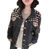 Летняя куртка Для женщин s в европейском и американском стиле рок ролл Панк ручной работы Бисер тяжелый металл Заклепки джинсовая куртка Дл