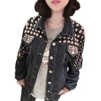 Summer jacket Womens European American Rock Roll Punk Handmade Beading Heavy Metal Rivet Denim jacket women Loose Jacket coat