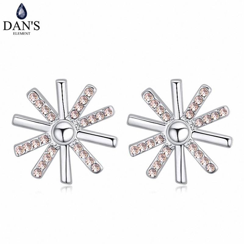 DANS 5 Colors Real Austrian crystals Stud earrings for women Earrings s New Sale Hot Round 120703