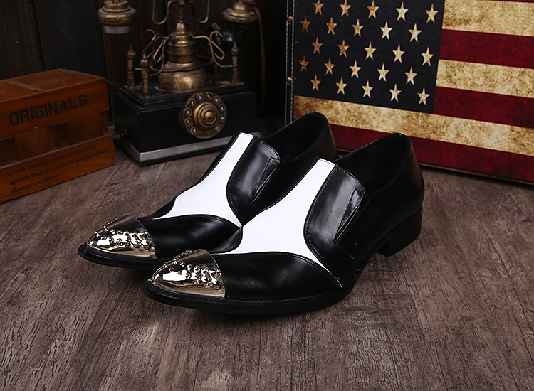 Black spiked loafers steel pointy toe studded genuine leather luxury formal shoes men male hidden heel oxford shoes for men in Formal Shoes from Shoes