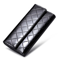 Luxury Patent Leather Women Wallet Long Clutch Bag Fashion 3 Fold Plaid Wallet Business Card Holder