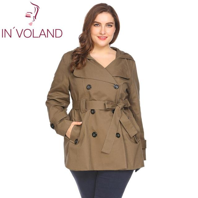 3a854dcd89934 IN VOLAND Plus Size Women Hooded Trench Coat XL-4XL 2018 New Spring Autumn  Double Breasted Solid Large Casual Outwear Big Size