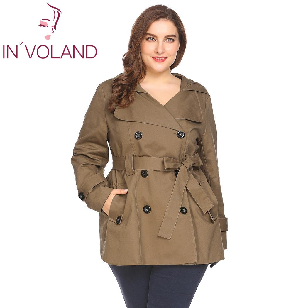 IN'VOLAND Plus Size Women Hooded Trench Coat XL-4XL Casual Autumn Spring Double Breasted Solid Large Size Female Outwear Tops