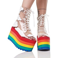 2019 new rainbow thick bottom fashion transparent PVC leather lace show show cool boots nightclubs cake bottom female boots